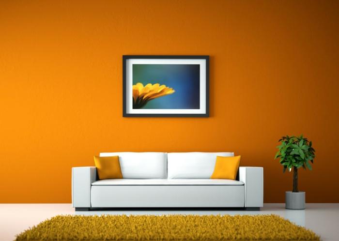 farbgestaltung wohnzimmer wandgestaltung wanddesign kürbis gelb