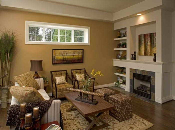 farbgestaltung wohnzimmer wandgestaltung wanddesign khaki