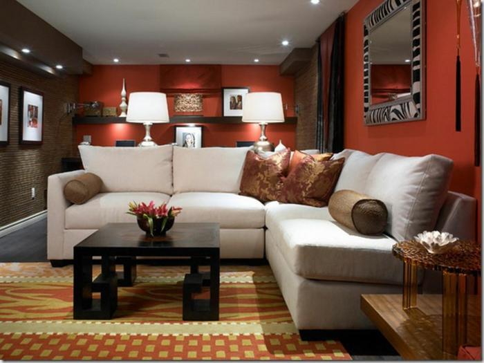 farbgestaltung wohnzimmer wandgestaltung wanddesign ocher rot