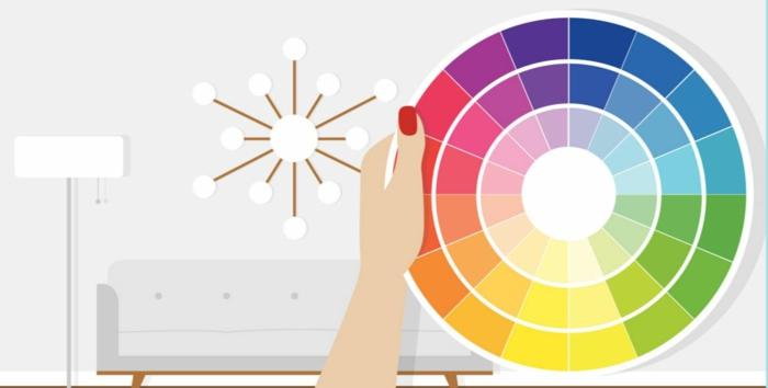 farbgestaltung wohnzimmer wandgestaltung wanddesign panton fächer