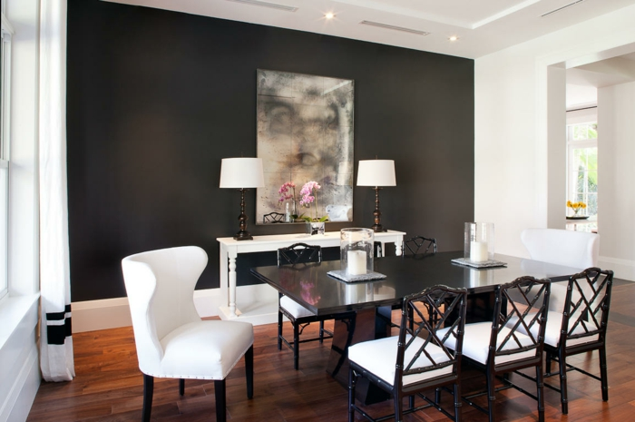farbgestaltung wohnzimmer wandgestaltung wanddesign schwarz braun