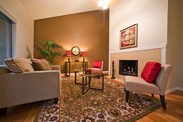 farbgestaltung wohnzimmer wandgestaltung wanddesign zimt braun