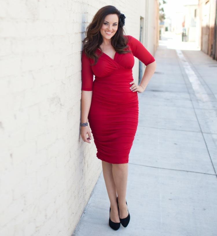 festliche Kleider große Größen rote Damenkleider