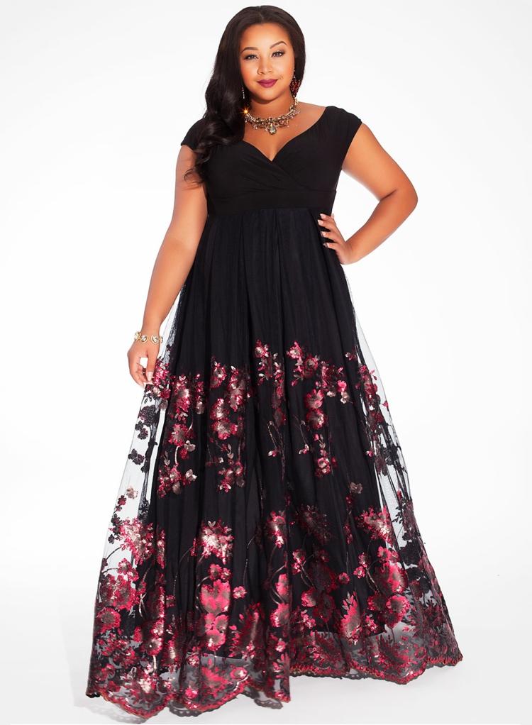 festliche Kleider große Größen schwarze Abendkleider Maxikleid
