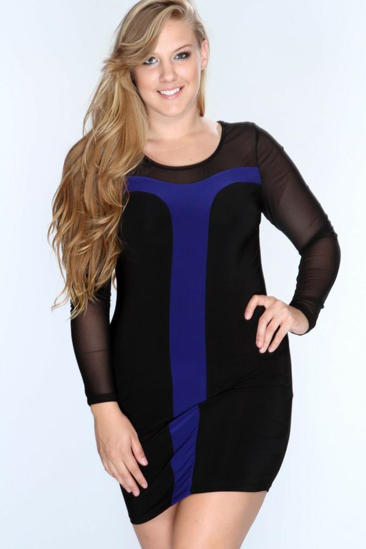 festliche Kleider in großen Größen Damenkleid schwarz kurz