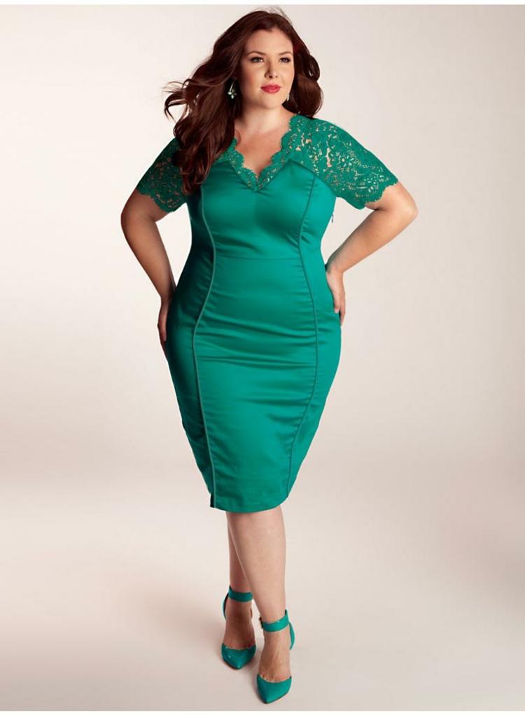 festliche Kleider in großen Größen klielang grün