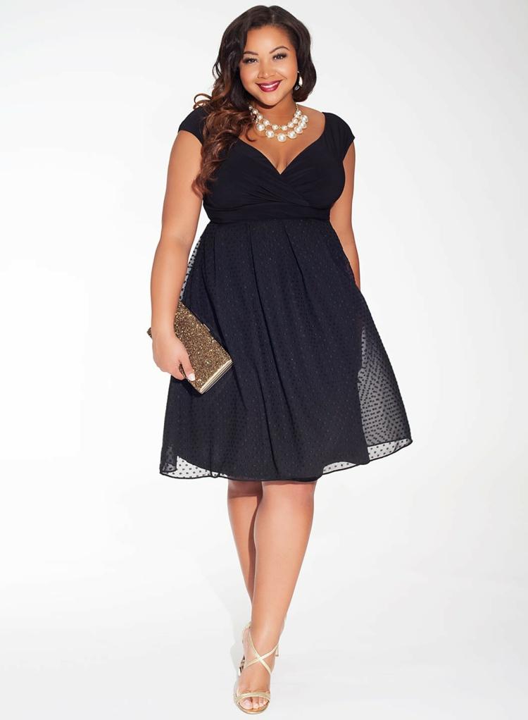 festliche Kleider in großen Größen schwarz Abendkleider Tüllkleid