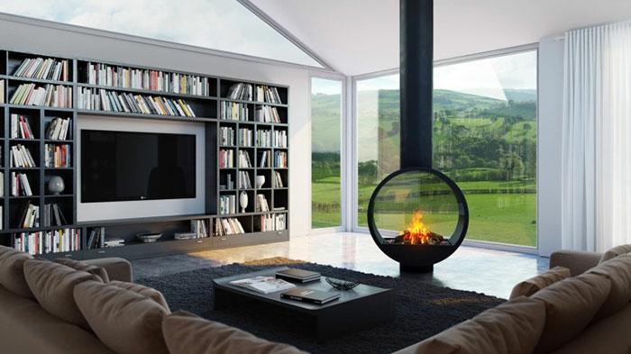 feuerstellen im garten bauen schwarzes regal luft kamin modern glas