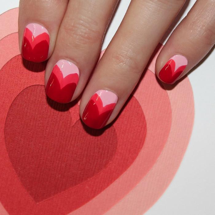 fingernägel design herzen valentinstag ideen rosa rot nagellack