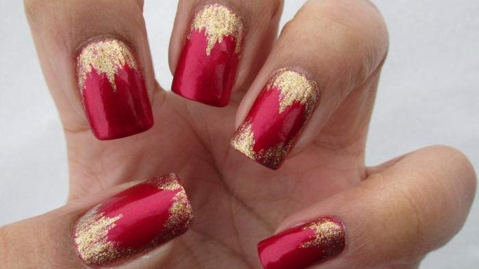 fingernägel design nageldesig rot gold herzen valentinstag