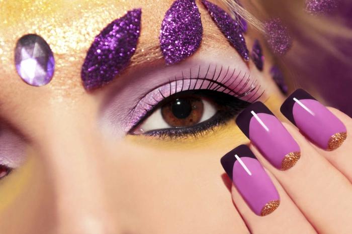 fingernägel design nageldesign lila rosa gold glitzer gelnägel gelmodellage