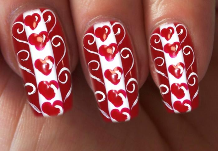 fingernägel design nagellack gelmodellage gelnägel valentinstag herzen