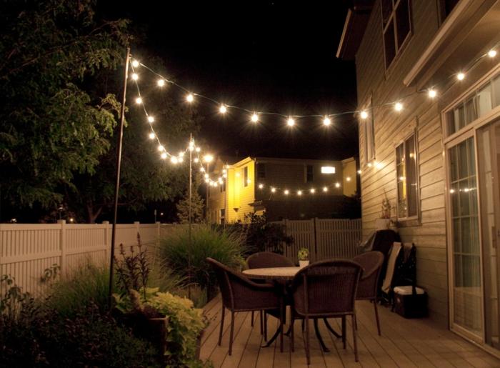 gartendeko ideen lichterketten gartenmöbel pflanzen