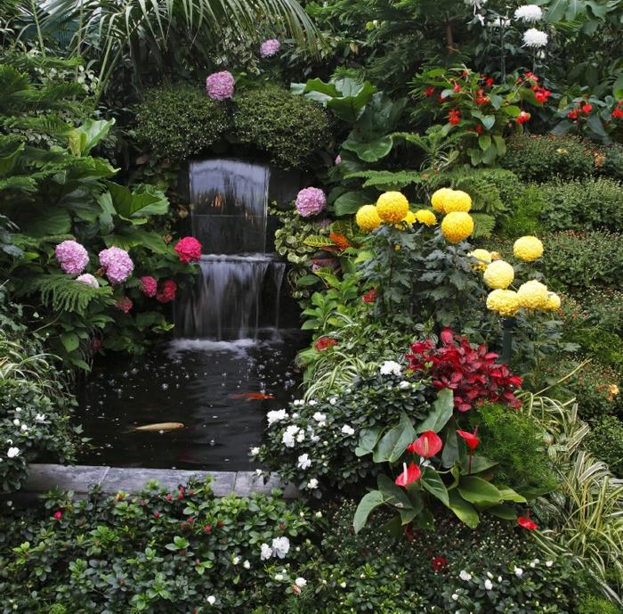 gartendeko ideen pflanzen wasser springbrunnen gartenideen