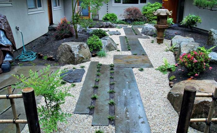 gartendeko ideen steingarten kieselsteine pflanzen