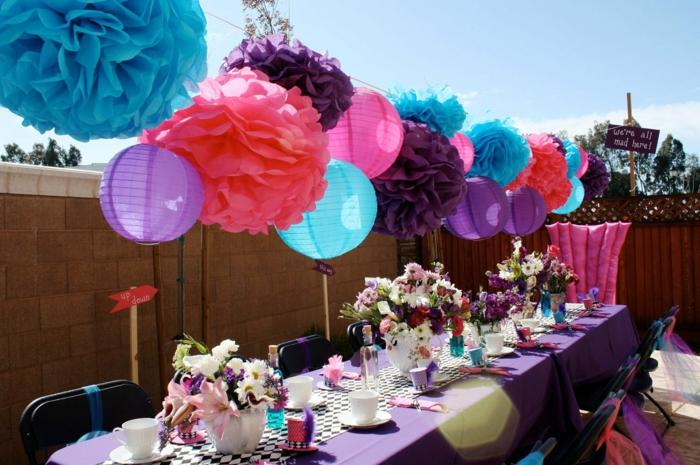 gartenparty deko gartendeko ideen lila tischdecke papier