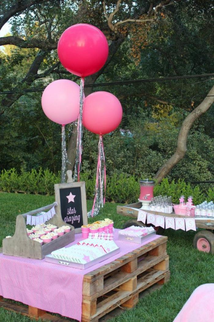 gartenparty deko gartendeko ideen palettenmöbel ballons