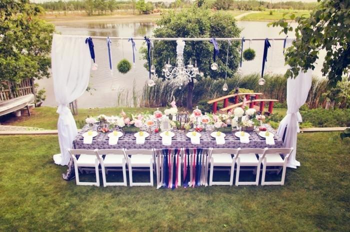 gartenparty ideen großes fest organisieren baldachin und hängende deko