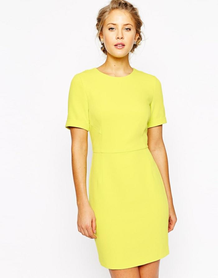 gelbes kleid business kleider schlichtes design frauenmode
