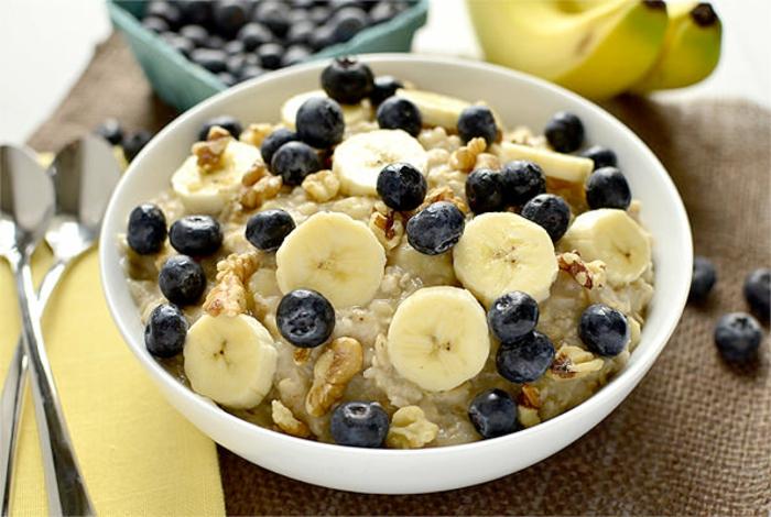 gesunde ernährung plan wasser frühstück haferflocken blaubeeren bananen
