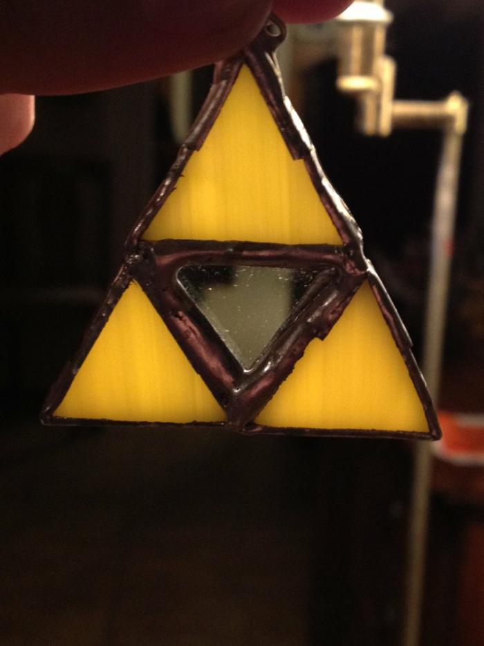 glas bemalen schmuck halskette dreieck