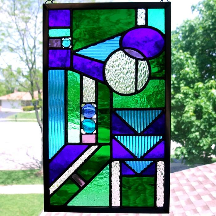 glas bemalen vitragen fenster geometrie in blau