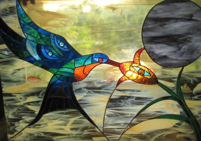 glas bemalen vitragen fensten moderne designs kolibri