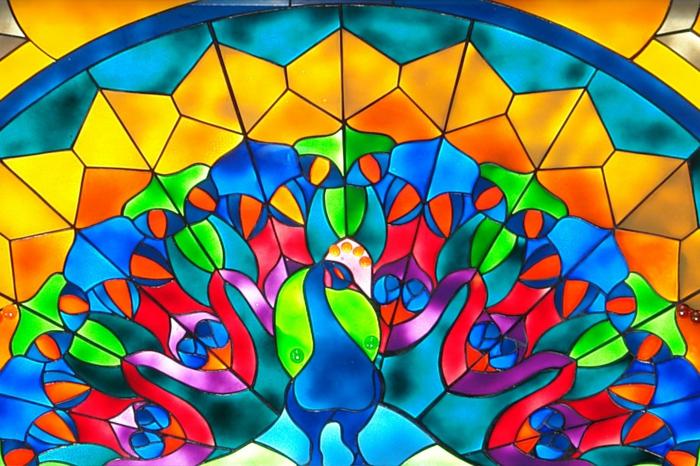 glas bemalen vitragen fenster moderne designs pfau