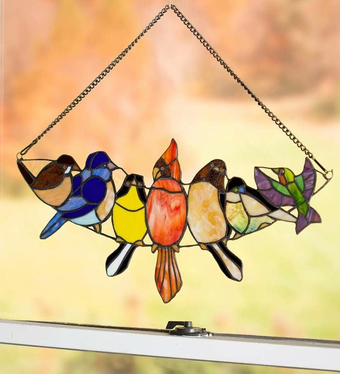 glas bemalen vitragen fenster vogeln