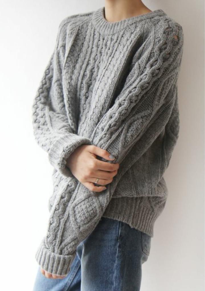 grauer Damenpullover gestrickt aktuelle Modetrends 2016