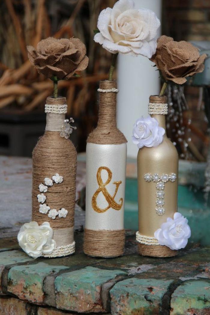 recycling dekoideen hochzeitsdekoration glasflaschen jute