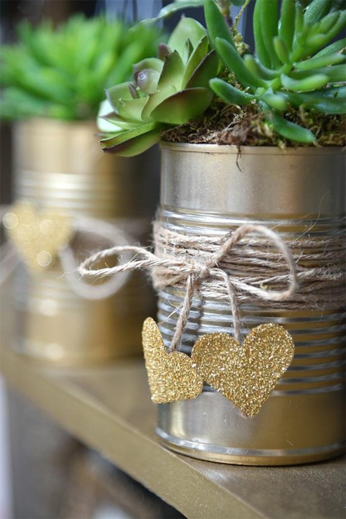 hochzeitsideen recycling dekoideen tischdeko sukkulenten herzen