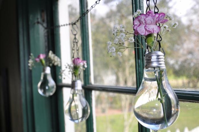 recycling ideen fendsterdekorato glühbirne vasen selber basteln hochzeitsdeko