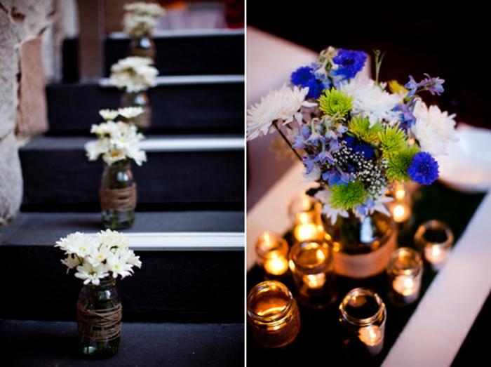 hochzeitsideen recycling nachhaltige dekoration treppenhaus tischdeko einwckgläser windlichter vasen