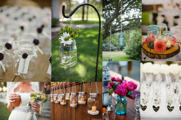 Diy Decorate Mason Jars Drinking Glasses With Flowers For Party