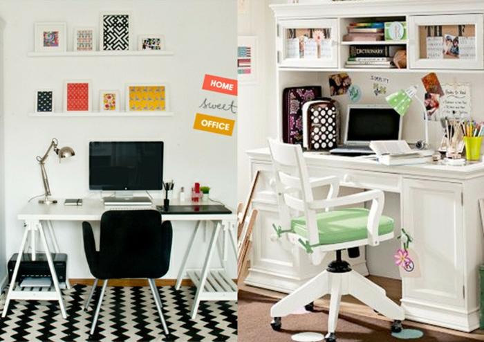 home office einrichten büro arbeitszimmer weiße schreibtische stühle