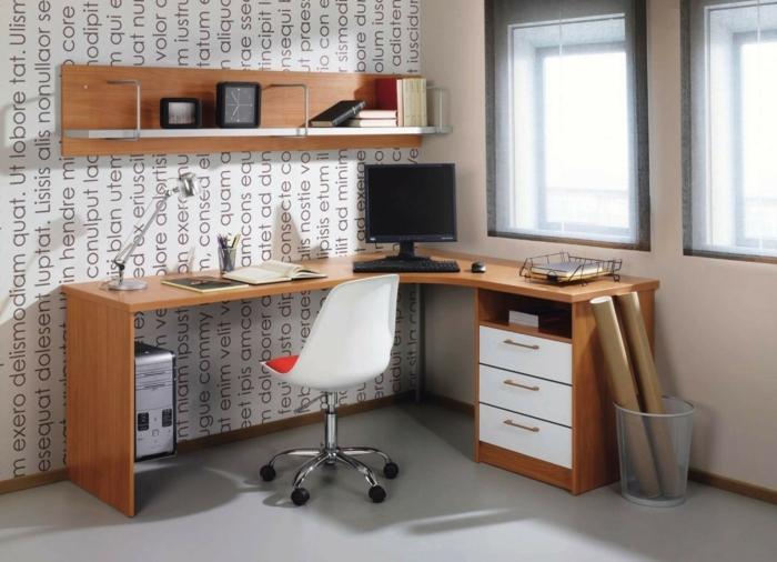 home office einrichten moderne büromöbel schreibtisch wandregale schrank bürostuhl