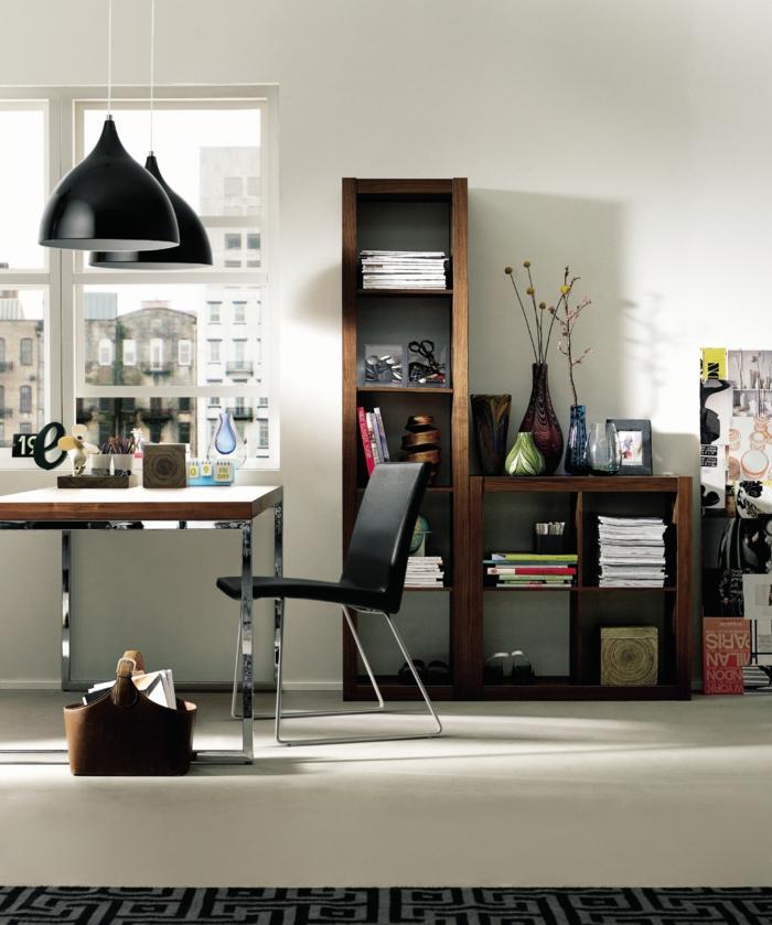 home office einrichten offene regale pendelleuchten tisch lederstuhl