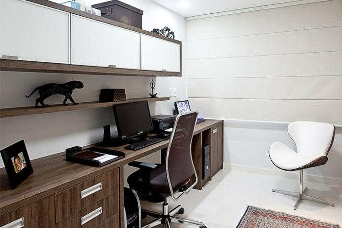 home office einrichten regale büro schreibtisch kommode schränke ergonomischer stuhl