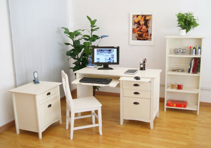 home office einrichten weißer schreibtisch stuhl schrank büro