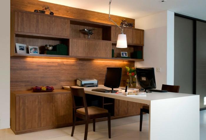 home office einrichten wohnwand wandregale schränke schreibtischstühle