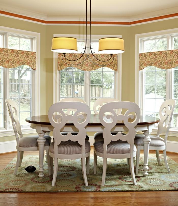 wohntrends ideen für die küche esszimmer ovaler esstisch teppich