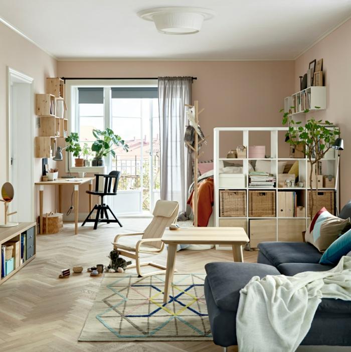 ikea möbel beistelltisch einrichtungsideen einfache regale raumtrenner raumteiler wohnzimmer schlafbereich