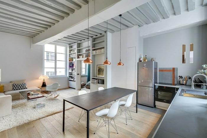 küche bodenbelag holzboden offener wohnplan pendelleuchten