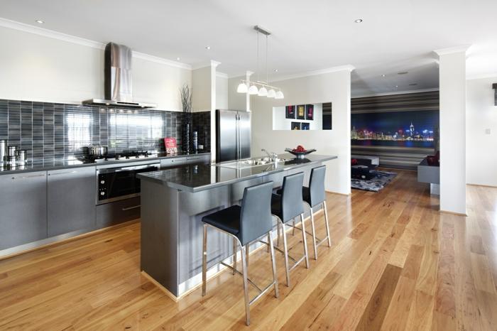 küche bodenbelag laminat kücheninsel küchenrückwand weiße wände