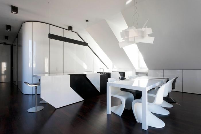 küche bodenbelag laminat weiß schwarz küchenideen