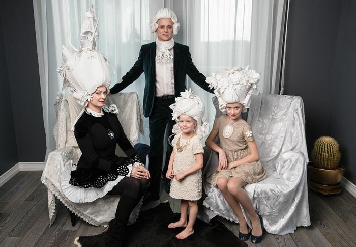 karnevalskostüm faschingskostüm weiße papier perücken familienkostüme karneval