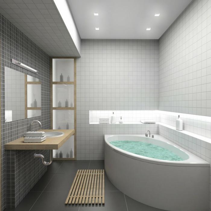 keramikfliesen badezimmer eckbadewanne modernes waschbecken