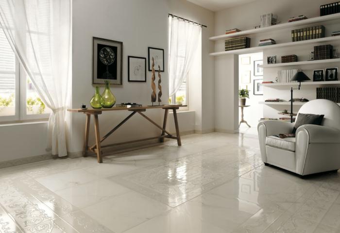 keramikfliesen bodenbelag schick weiße wände