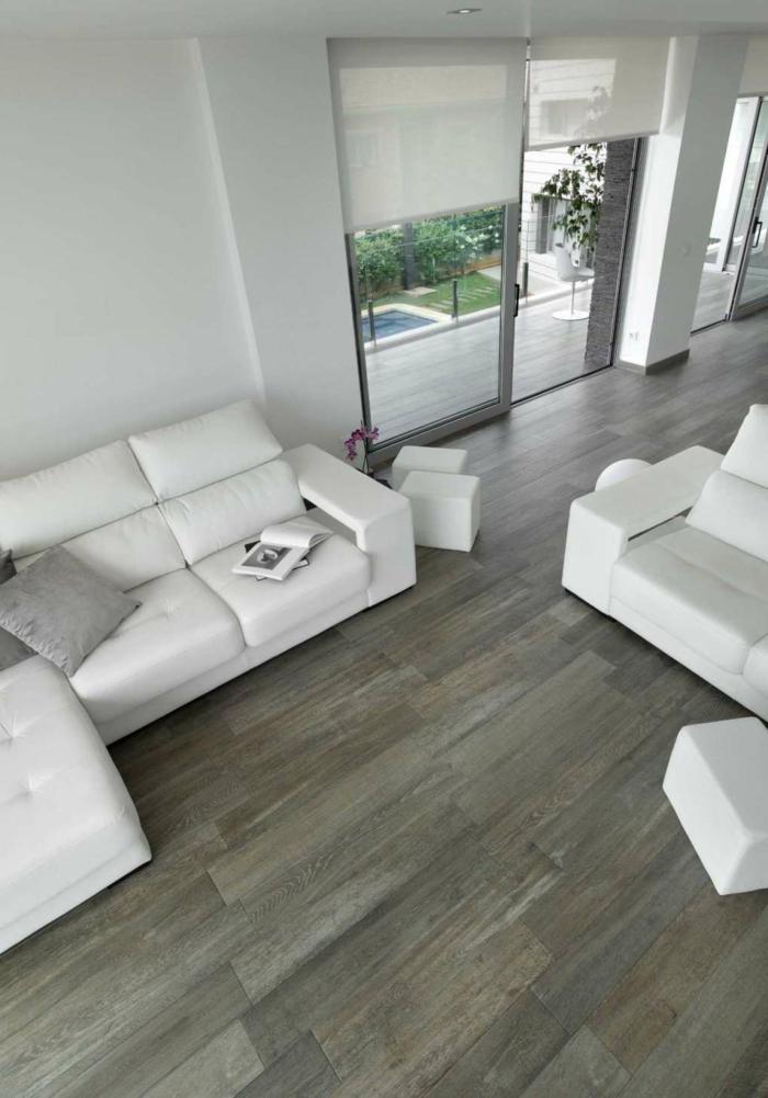 keramikfliesen holzoptik wohnideen wohnzimmer weiße möbel